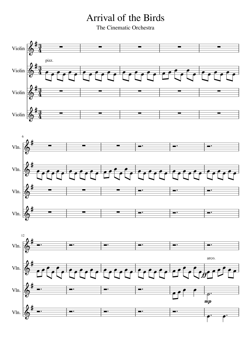 Télécharger photo arrival of the birds violin sheet music png