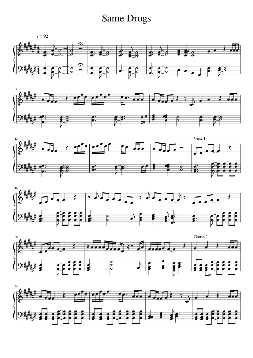 Télécharger photo same drugs piano sheet music png