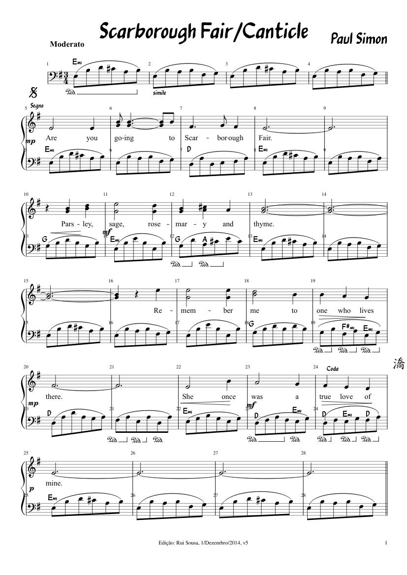 Télécharger photo scarborough fair piano tutorial png